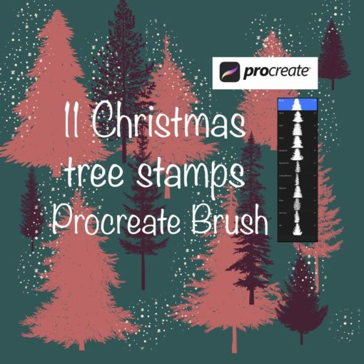 11 christmas tree stamps for procreate 2 download now brushes pack