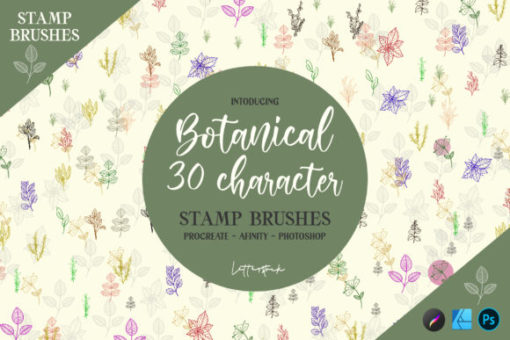 botanical stamp brushes graphics 6921798 1 1 580x387 download now brushes pack