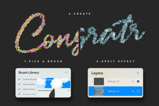 confetti and glitter procreate brushes pack 2 download now brushes pack
