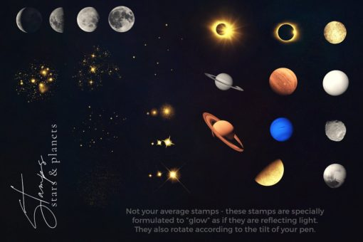 galaxy brushes for procreate stars planets v1 download now brushes pack