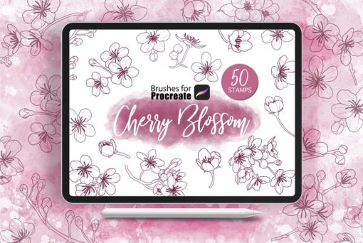 procreate cherry blossom stamps download now brushes pack