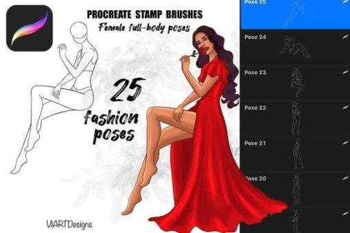 procreate stamp brushes 25 fashion poses download now brushes pack