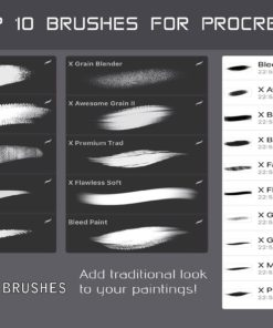procreate texture brushes bundle 4 download now brushes pack