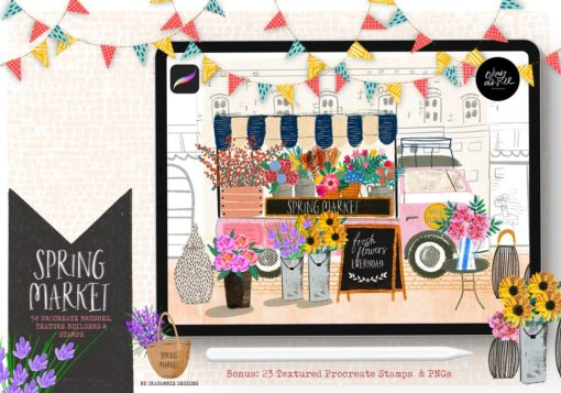 spring market procreate brushes oad springflowers cover download now brushes pack
