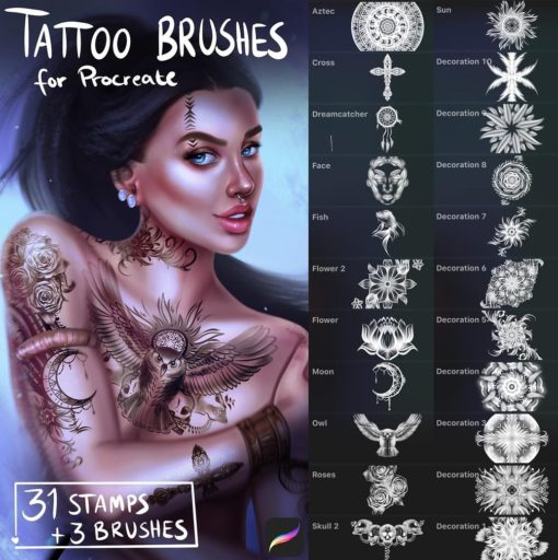 tattoo brushes for procreate download now brushes pack