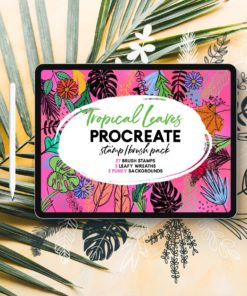tropical leaves stamps procreate 3 download now brushes pack
