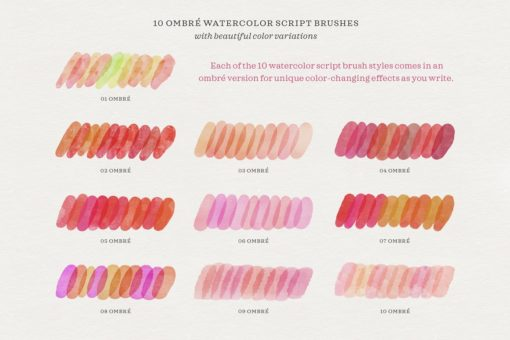 watercolor script procreate brushes 3 download now brushes pack