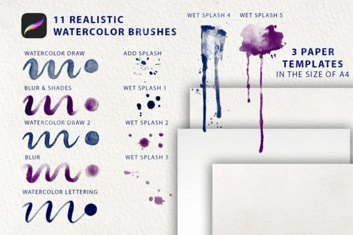 watercolor tool kit for procreate 4 download now brushes pack