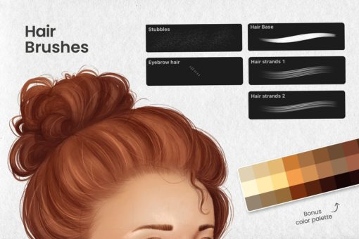 portrait bundle for procreate display hair download now brushes pack