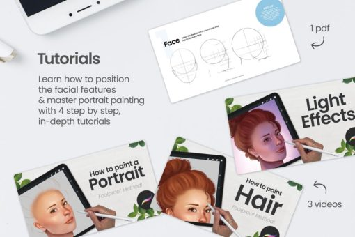 portrait bundle for procreate display tutorials download now brushes pack