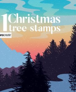 christmas tree stamps for procreate brushespack