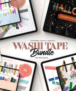 washi tape bundle for procreate download now brushespack