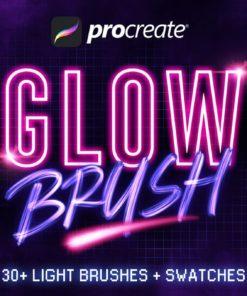 + procreate glow brushes brushespack