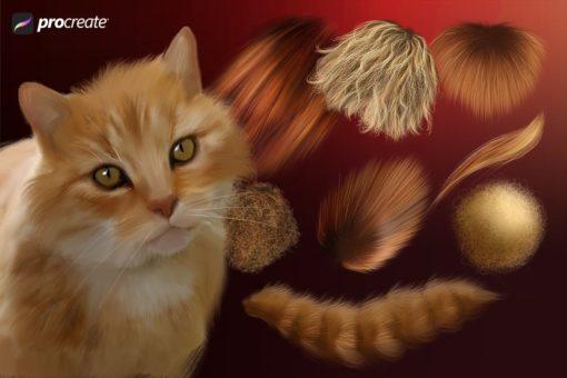 animal fur procreate brushes ( ) brushespack