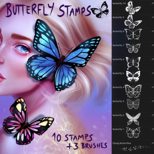 butterfly stamps and brushes for procreate brushespack