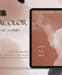 delicate watercolor procreate brush set mockup brushespack