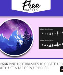 pine tree brushes for procreate and photoshop brushespack