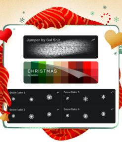 procreate christmas pack (jumper, snowflakes and christmas palette) by gal shir brushespack
