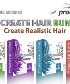 procreate hair brushes bundle brushespack