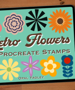retro groovy flower procreate stamps ( ) brushespack