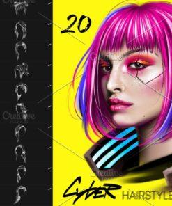 cyberpunk hair procreate brushes download now brushespack