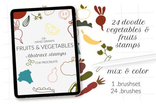 doodle fruits veggie procreate ресурс 87 download now brushespack