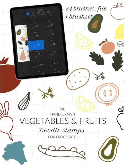 doodle fruits veggie procreate ресурс 89 download now brushespack