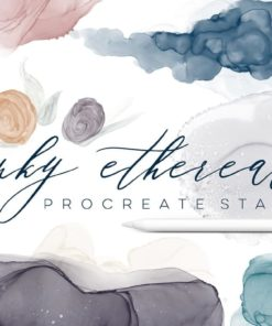inky ethereal procreate stamps download now brushespack