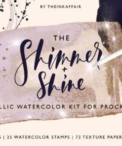 metallic watercolor kit procreate shimmer 01 01 01 download now brushespack