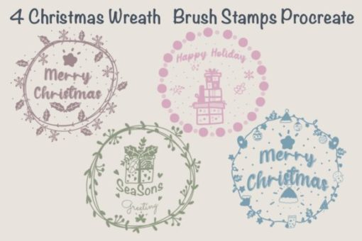 christmas wreath brush stamps procreat graphics x download now brushespack