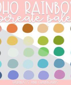 boho rainbow procreate color palette download now brushespack