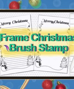 brush stamp frame christmas paper graphics x download now brushespack