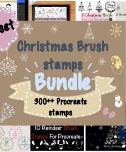 christmas brushes stamps bundle bundles download now brushespack