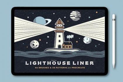 lighthouse liner procreate brushes download now brushespack