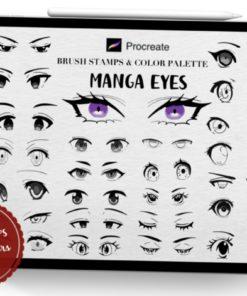 manga eyes procreate brush stamps download now brushespack