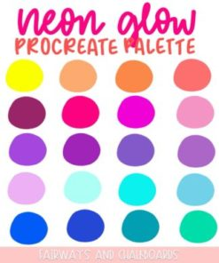 neon glow procreate palette download now brushespack