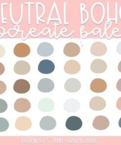 neutral boho procreate palette download now brushespack