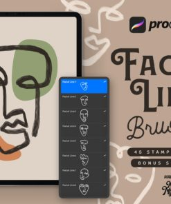 procreate facial line brushes download now brushespack