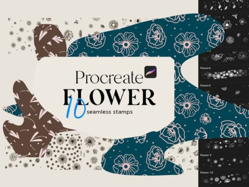 procreate flowers seamless stamps download now brushespack