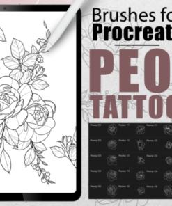 procreate tattoo peony stencil set graphics x download now brushespack