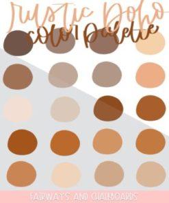 rustic boho procreate color palette download now brushespack