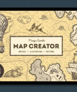 vintage map procreate brushes cover procreate download now brushespack