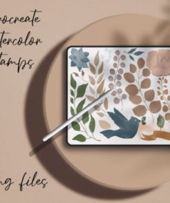 watercolor stamps for procreate graphics x download now brushespack