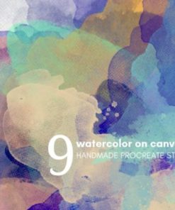watercolor on canvas procreate brush set graphics x download now brushespack