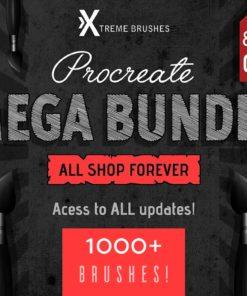 brushstrokespreviewcm procreate mega bundle k brushes download now brushespack