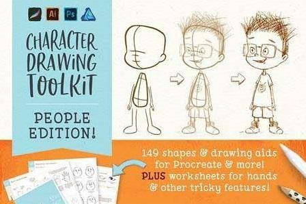 procreate people drawing toolkit brushespack