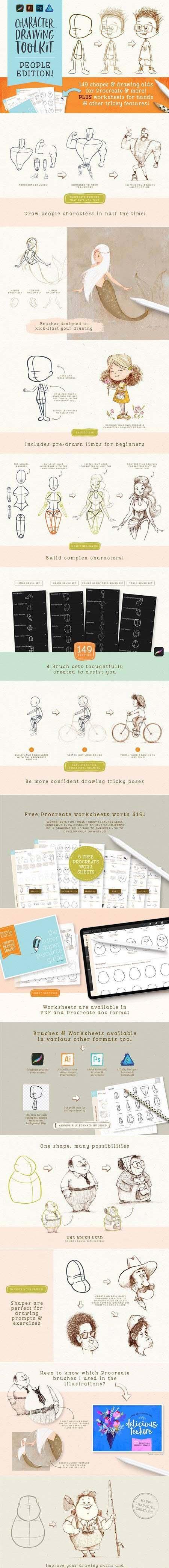 procreate people drawing toolkit copy brushespack