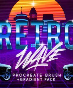 retro wave brush for procreate ( ) brushespack