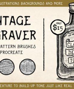 vintage engraving procreate brushes ( ) brushespack
