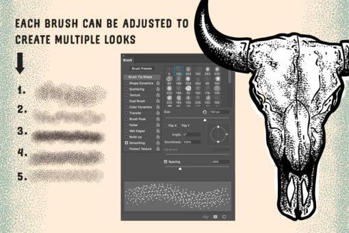 stipple brush set for photoshop and illustrator ( ) brushespack